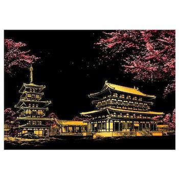 Scratch Painting  Japanskt Tempel 41x28,7 cm - Leveranstid 1-3 Dagar