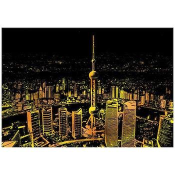 Scratch Painting Shanghai 41x28,7 cm - Leveranstid 1-3 Dagar