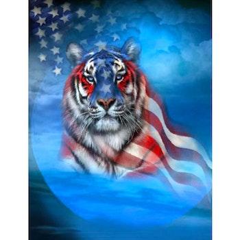 Diamanttavla American Tiger 40x50 - Leveranstid 1-3 Dagar
