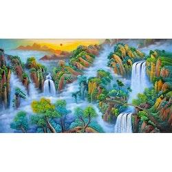 Diamanttavla Mountain Waterfall 50x150 - Leveranstid 1-3 Dagar