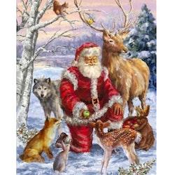 Diamanttavla Santa With Forest Animals 60x80 - Leveranstid 1-3 Dagar
