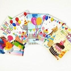 Födelsedagskort 6-Pack13x18 Cm