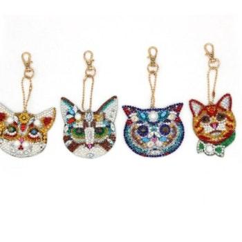 Nyckelringar Katter 4-pack - Leveranstid 1-3 Dagar