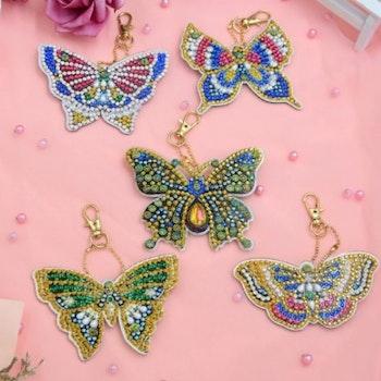Nyckelringar Butterflies 5-pack - Leveranstid 1-3 Dagar