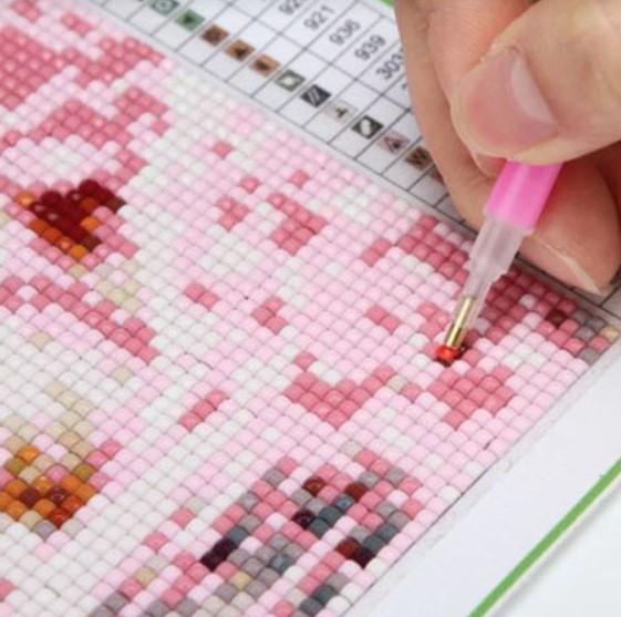 Diamond Painting Bokmärke Pink Heart 21 cm - Leveranstid 1-3 Dagar