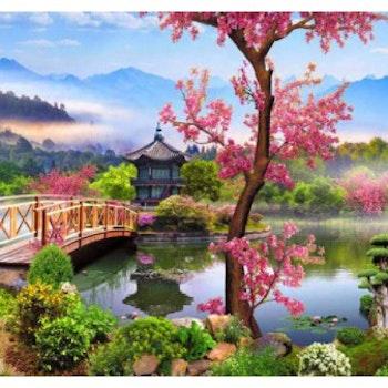 Diamanttavla Asian Mountain Village 50x70 - Leveranstid 1-3 Dagar