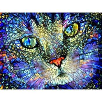 Diamanttavla Mosaic Cat 40x50 - Leveranstid 1-3 Dagar