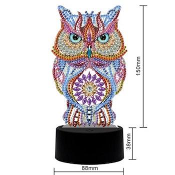 Diamond Painting Ledlampa Uggla ca 18 cm - Leveranstid 1-3 Dagar