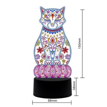 Diamond Painting Ledlampa Katt ca 18 cm - Leveranstid 1-3 Dagar