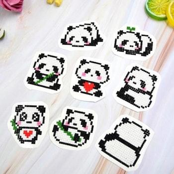 Diamond Painting Stickers Panda 9 Pack - Leveranstid 1-3 Dagar
