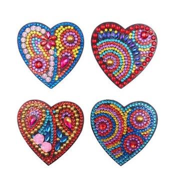 Diamond Painting Magnet Hjärta 4-Pack - Leveranstid 1-3 Dagar