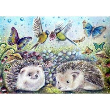 Diamanttavla Hedgehog And Butterflies 40x50 - Leveranstid 1-3 Dagar