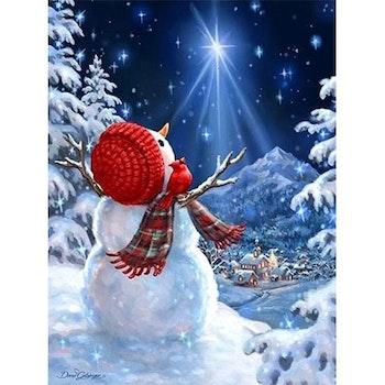 Diamanttavla Snowman Starlight 40x50 - Leveranstid 1-3 Dagar