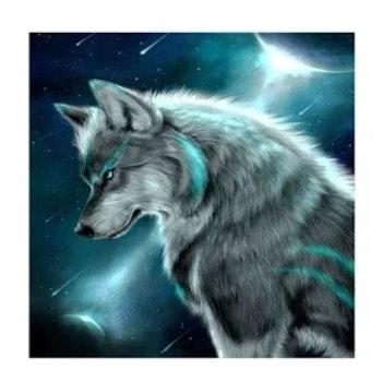 Diamanttavla (R) Wolf Galaxy 50x50