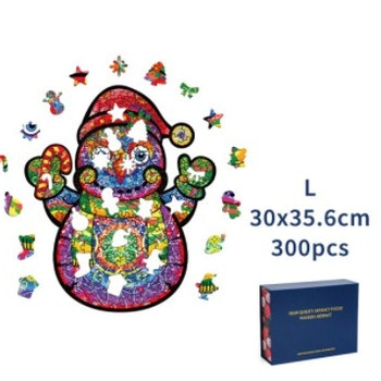 Christmas Wood Puzzle Snowman ca 30x35 Cm  - Leveranstid 1-3 Dagar
