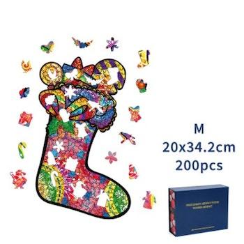 Christmas Wood Puzzle Julstrumpa ca 20x34 Cm  - Leveranstid 1-3 Dagar