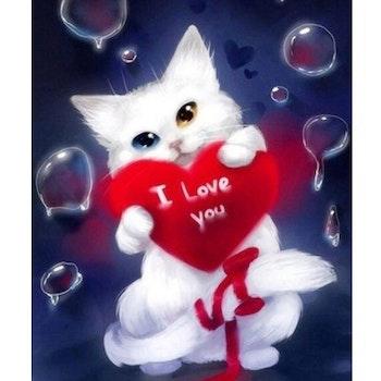 Diamanttavla Cat I Love You 40x50 - Leveranstid 1-3 Dagar