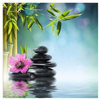 Diamanttavla Bamboo Stones And Flower 40x40 - Leveranstid 1-3 Dagar