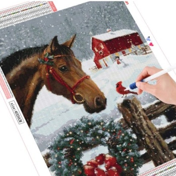 Diamanttavla Christmas Horse 50x70 - Leveranstid 1-3 Dagar