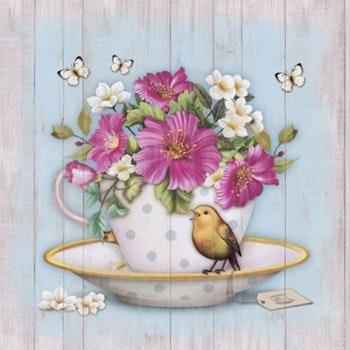 Diamanttavla Flowers In Cup 40x40 - Leveranstid 1-3 Dagar
