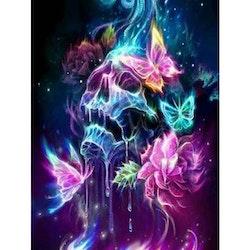 Diamanttavla Color Skull Butterfly 40x50