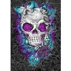 Diamanttavla Purple Rose Skull 50x70 - Leveranstid 1-3 Dagar