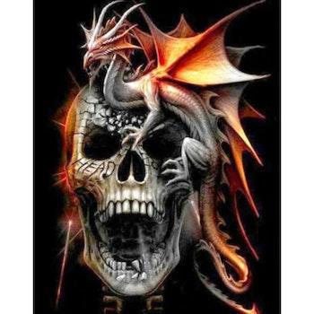Diamanttavla Skull Red Dragon 50x70 - Leveranstid 1-3 Dagar
