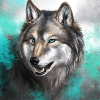 Diamanttavla Wolf Green 50x70 - Leveranstid 1-3 Dagar