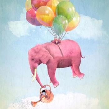 Diamanttavla Elephant Balloons 50x70 - Leveranstid 1-3 Dagar