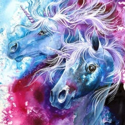Diamanttavla Fantacy Unicorns 50x50 - Leveranstid 1-3 Dagar