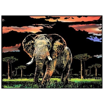Scratch Painting Elefant 41x28,7 cm - Leveranstid 1-3 Dagar