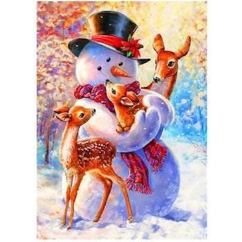 Diamanttavla Snowman And Deer 40x50- Leveranstid 1-3 Dagar