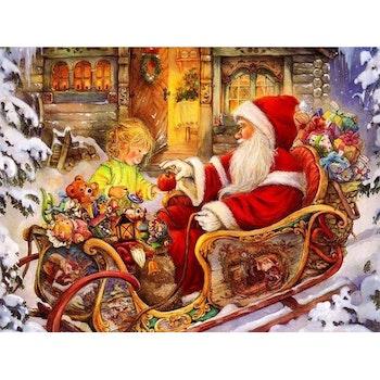 Diamanttavla Santa And Girl 50x70 - Leveranstid 1-3 Dagar