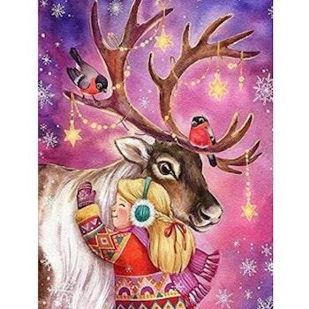 Diamanttavla Girl And Christmas Deer 40x50 - Leveranstid 1-3 Dagar