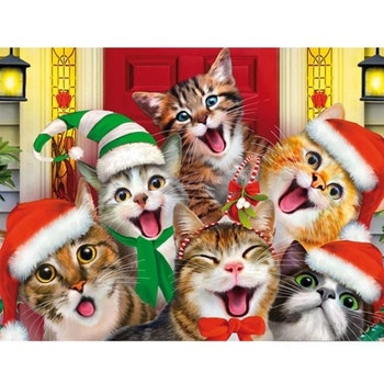 Diamanttavla Funny Cats Christmas 40x50 - Leveranstid 1-3 Dagar