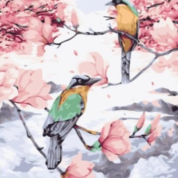 Paint By Numbers Birds In Tree 40x50 - Leveranstid 1-3 Dagar
