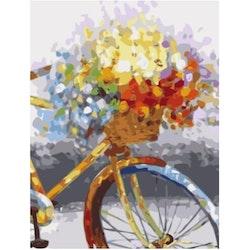 Paint By Numbers Flower Bike 40x50 - Leveranstid 1-3 Dagar