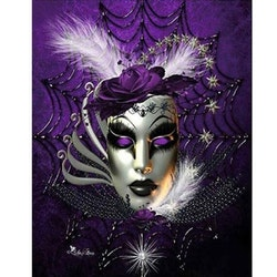 Diamanttavla Purple Mask 40x50 - Leveranstid 1-3 Dagar