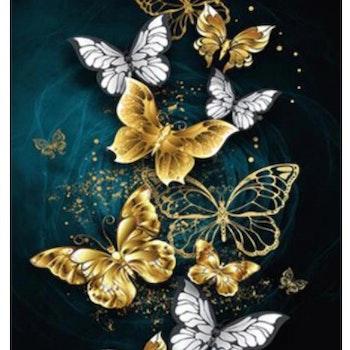 Diamanttavla Golden Butterflies 40x50 - Leveranstid 1-3 Dagar