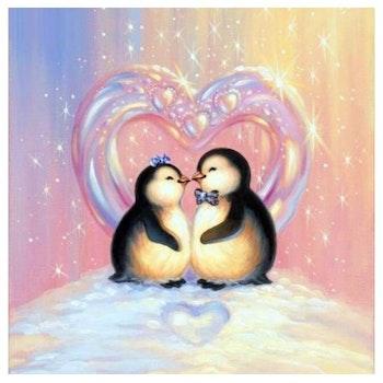 Diamanttavla Penguins Love 40x40 - Leveranstid 1-3 Dagar