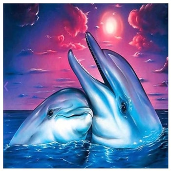 Diamanttavla Happy Dolphin 40x40 - Leveranstid 1-3 Dagar
