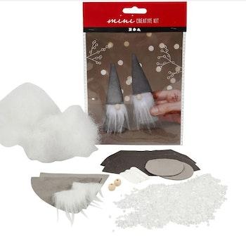 Kreativt minikit, Skandinavisk tomte, H: 12 cm, grå, 1 set