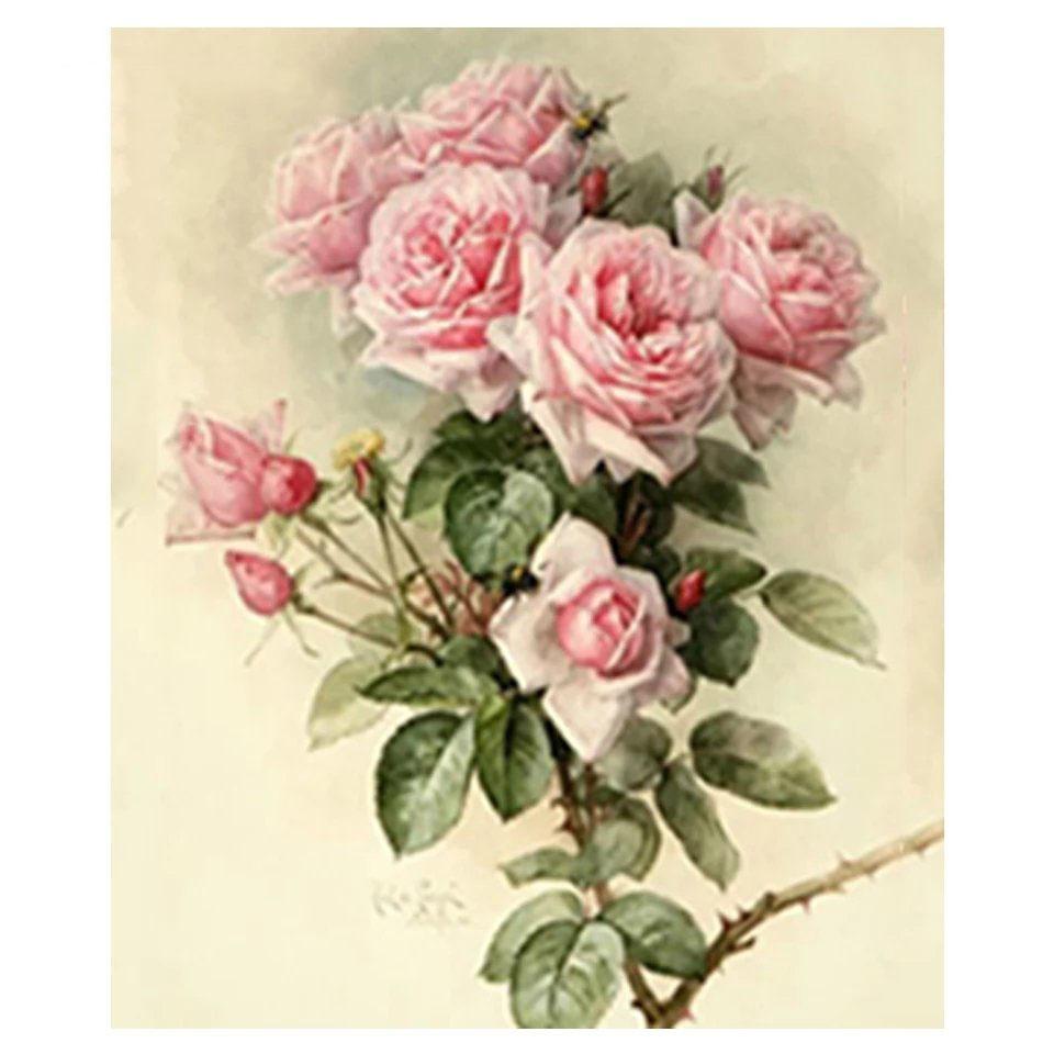 Diamanttavla Vacker Rosa Ros 40x50 - Leveranstid 1-3 Dagar