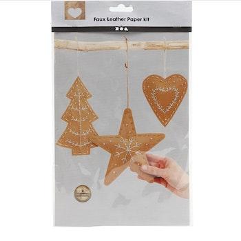 Juldekoration av läderpapper, tjocklek 0,55 mm, natur, 1 set