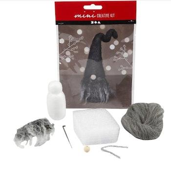 Pyssel Kreativt minikit, Jultomte, H: 13 cm, gråmelerad, 1 set