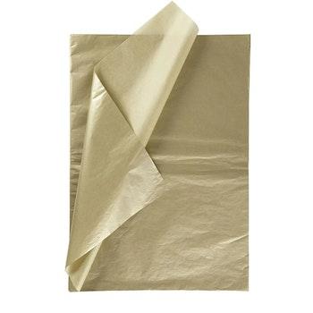 Silkespapper, 50x70 cm, 17 g, guld, 6 ark/ 1 förp. - Leveranstid 1-3 Dagar