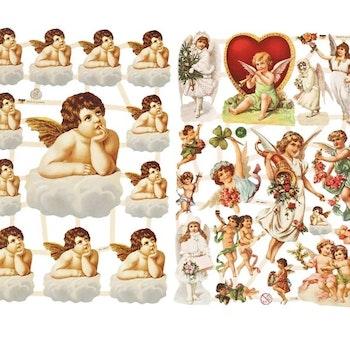 Bokmärken, stora och små änglar, 16,5x23,5 cm, 2 ark/ 1 förp. - Leveranstid 1-3 Dagar