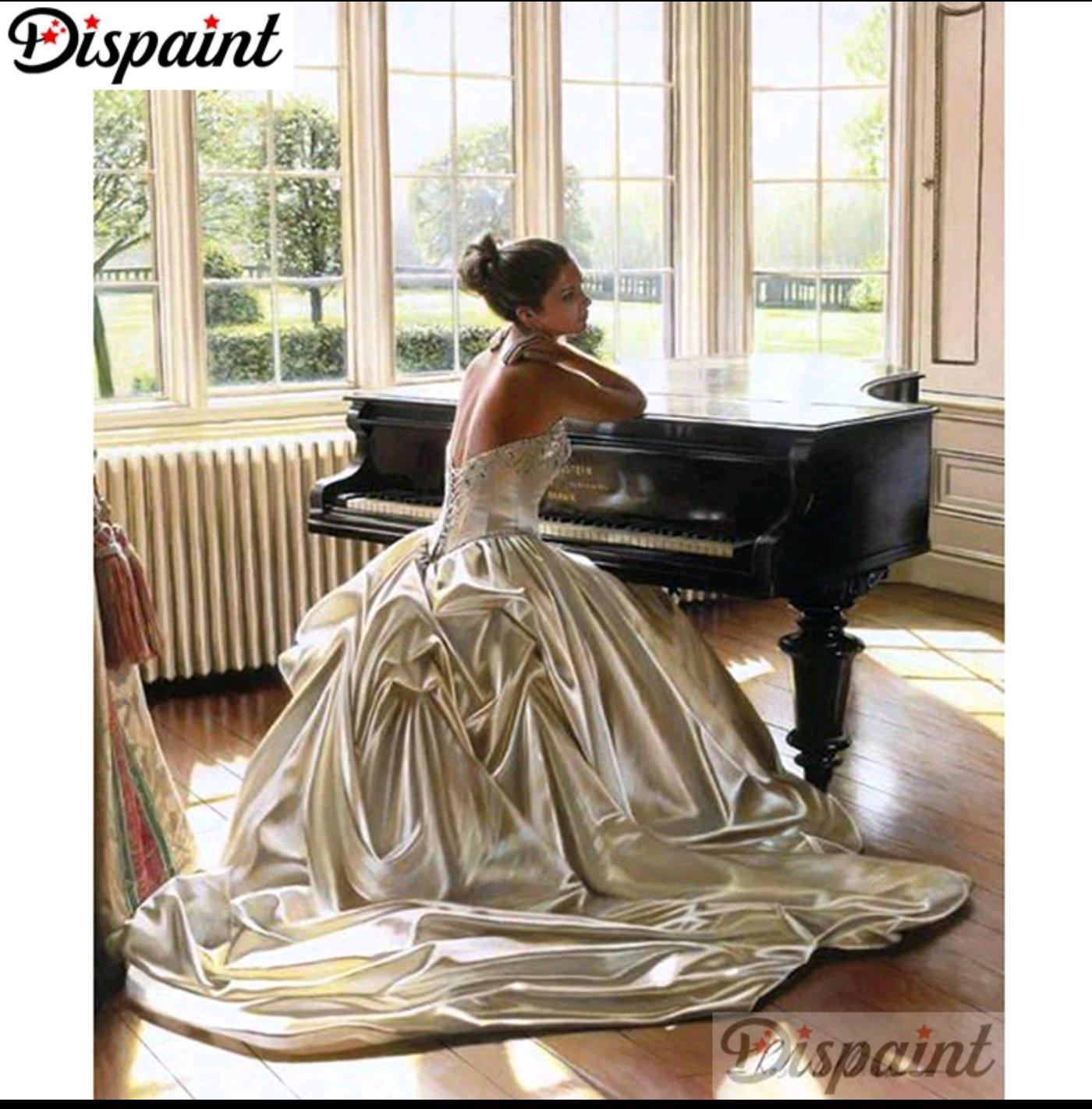 Diamanttavla Kvinna Vid Piano 40x50