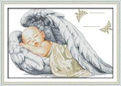 Korsstygnstavla Litle Angel 49x34 cm