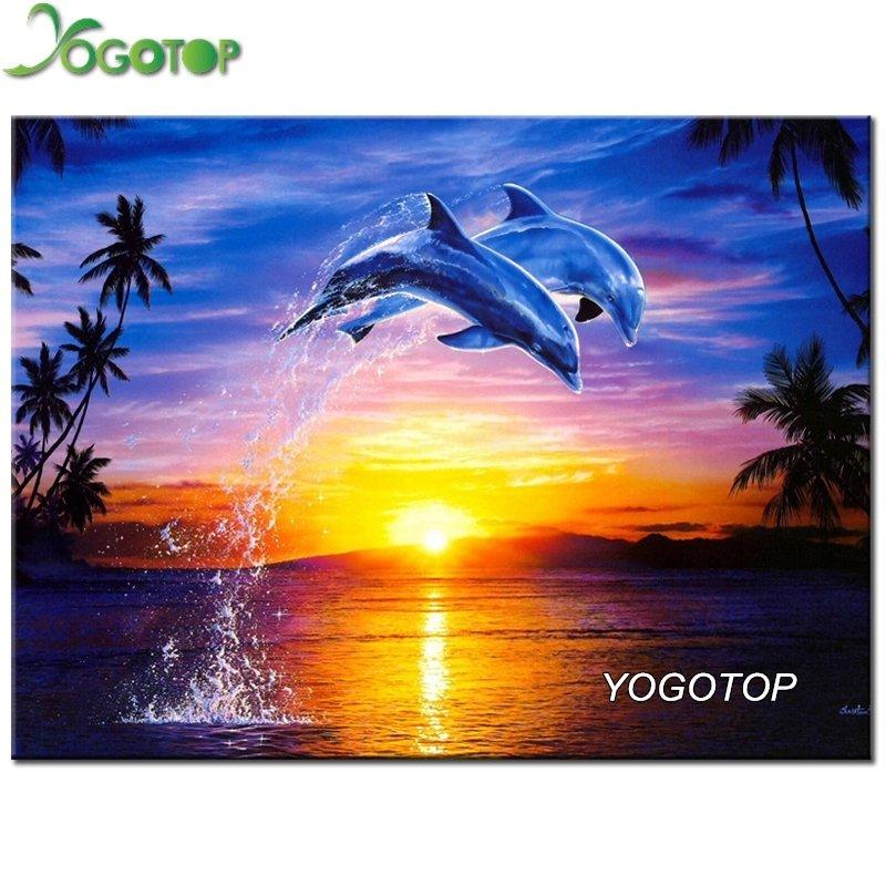Diamanttavla Dolphins 30x40